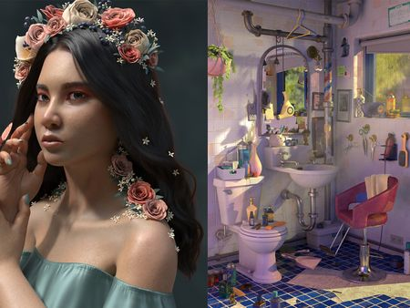 Woman With Flowers and Bathroom Barbershop