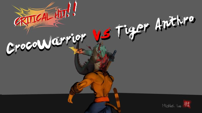 Crocowarrior Vs Tiger Anthro