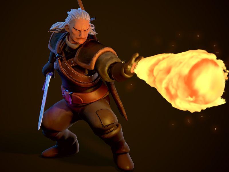 Geralt of Rivia - Ghibli Style Fanart