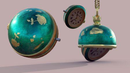 3D blue pendant watch