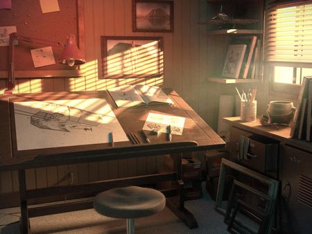 Ralph McQuarrie's studio, main workstation.