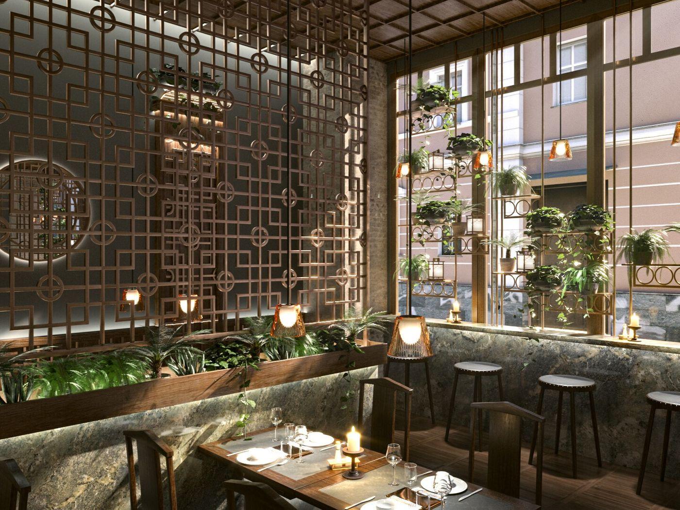 Modern Resturant In Dark Wood
