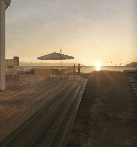 House playing with ocean