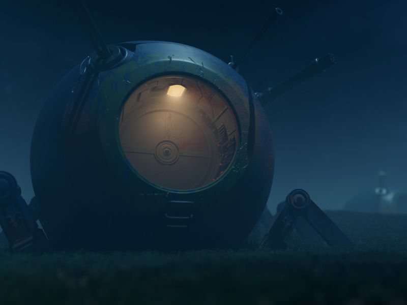 Abandoned battle robot