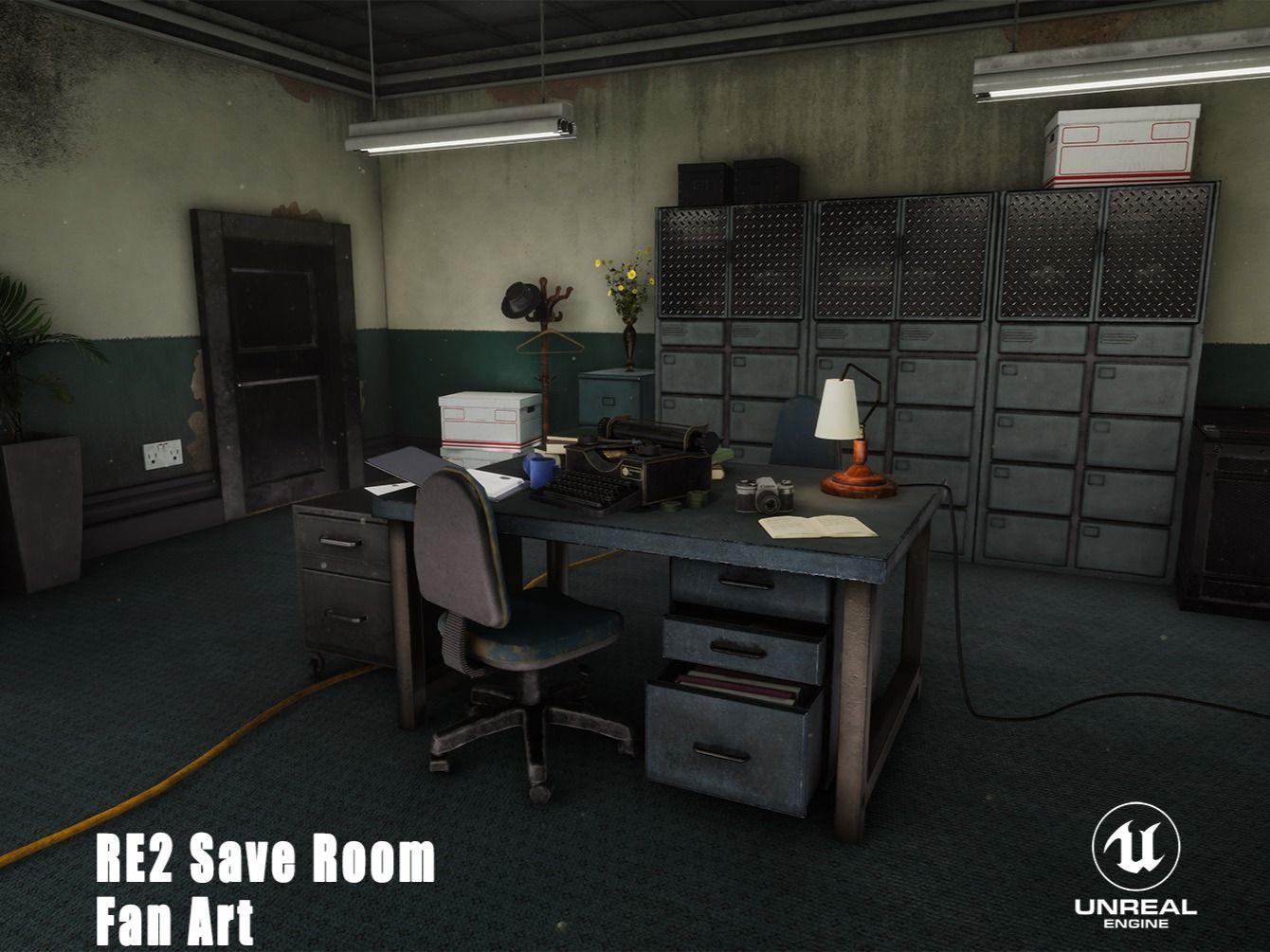 Resident Evil 2 Save Room Fan Art