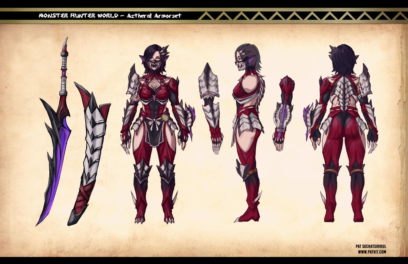 Suchatsirikul Pat Final Page12 Monster Hunter Aztheral Armorset Orthographic Patvit