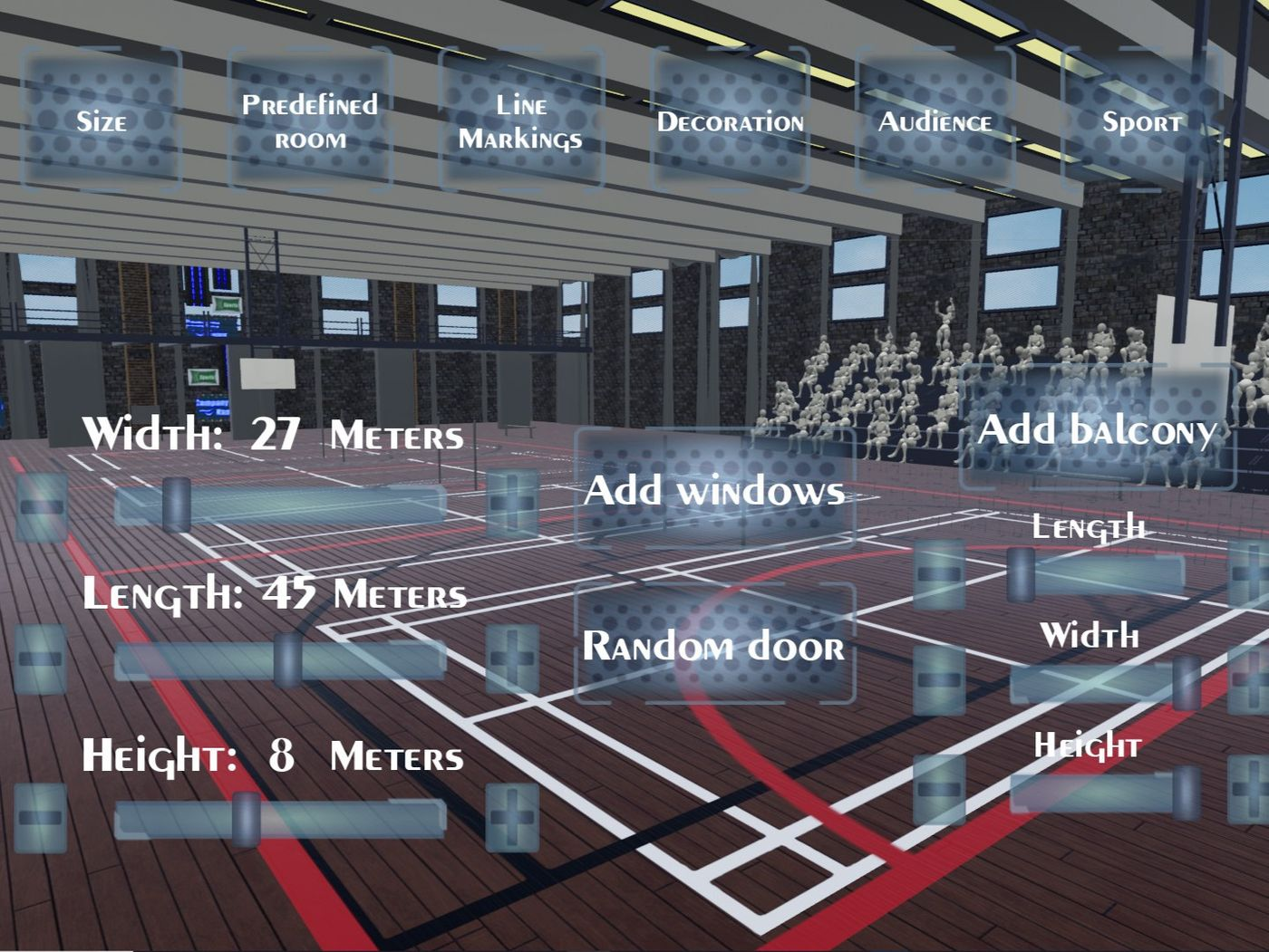 Customizable VR Sports Hall