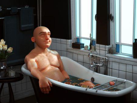 Bald Man in a citrus bath