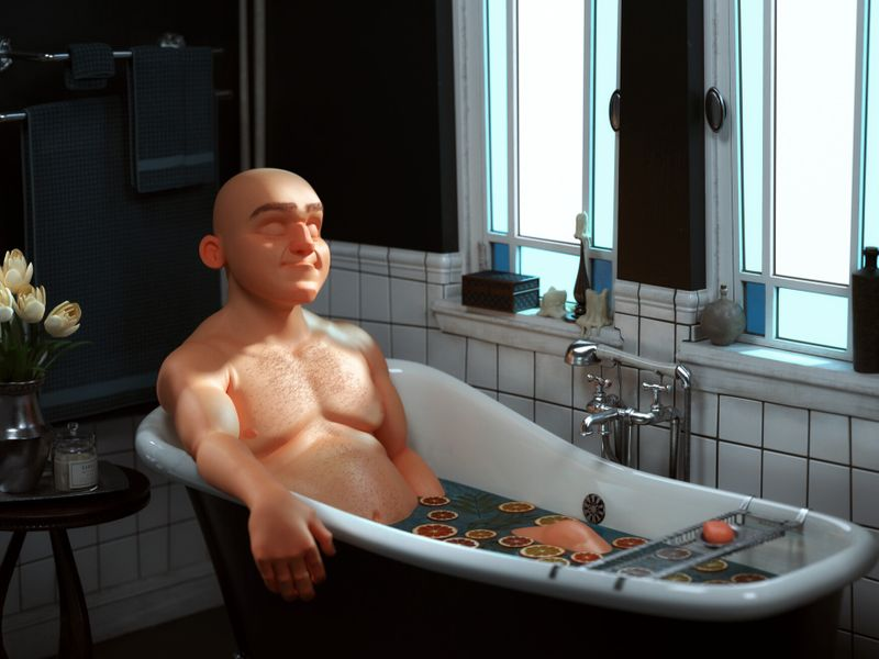 Bald Man in a citrus bath
