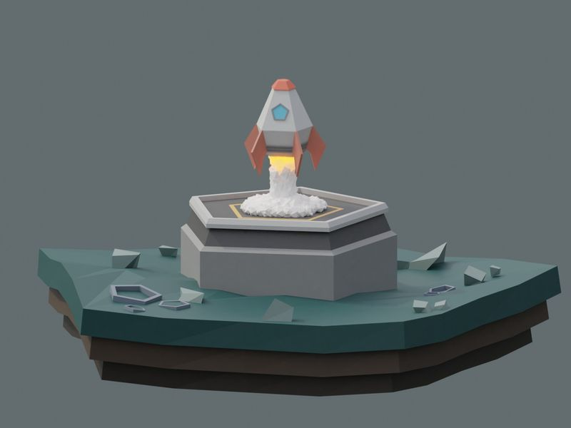 Low poly rocket