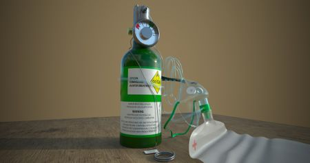 PORTABLE OXYGEN CYLINDER WITH MASK