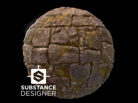 Substance Designer Mossy Ruin Bricks