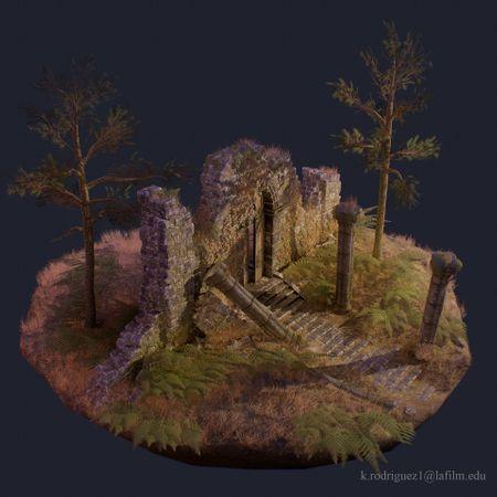 Scottish Ruins Vignette