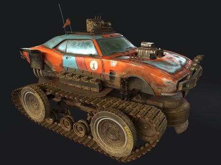 HOT ROD CAR + TANK TRACKS