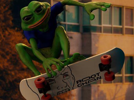 Skateboarding Pepe the Frog