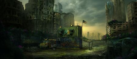 post apocalypse environment concept art