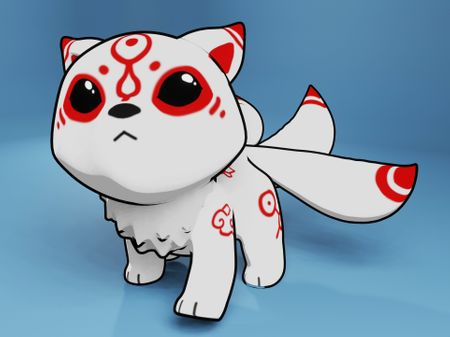 Chibi Three Tailed Kitsune Model
