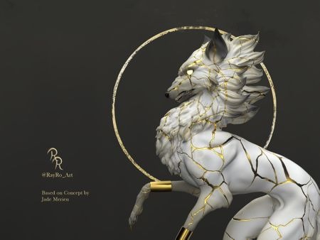 Kintsugi Wolf (3D interpretation)