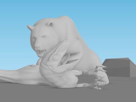 Creature Fight Animation | Bear & Raptor