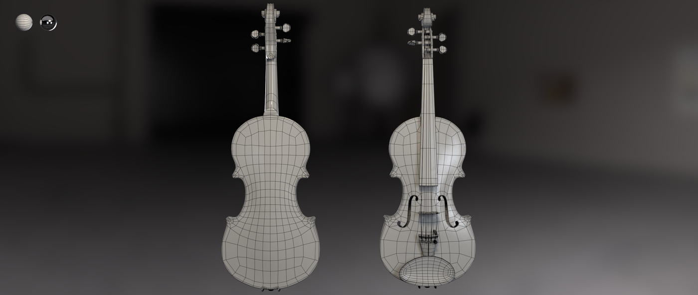 Render Violin 1 C Wireframe Rhmnvfx