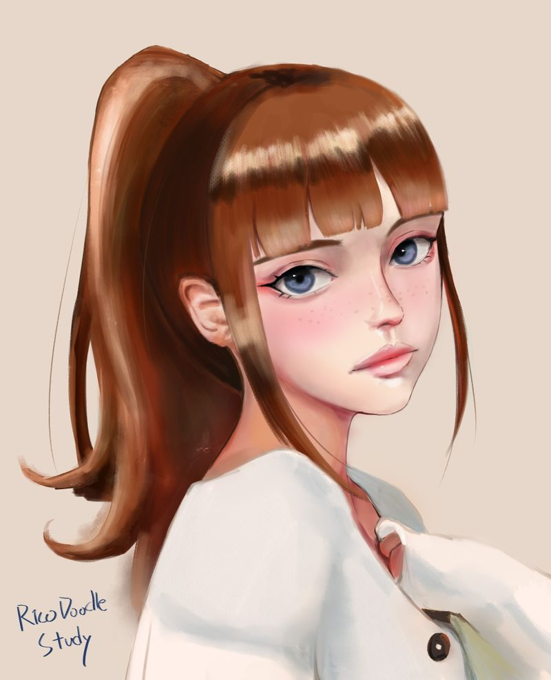 Stylized portrait study (Speedpaint link in description!)