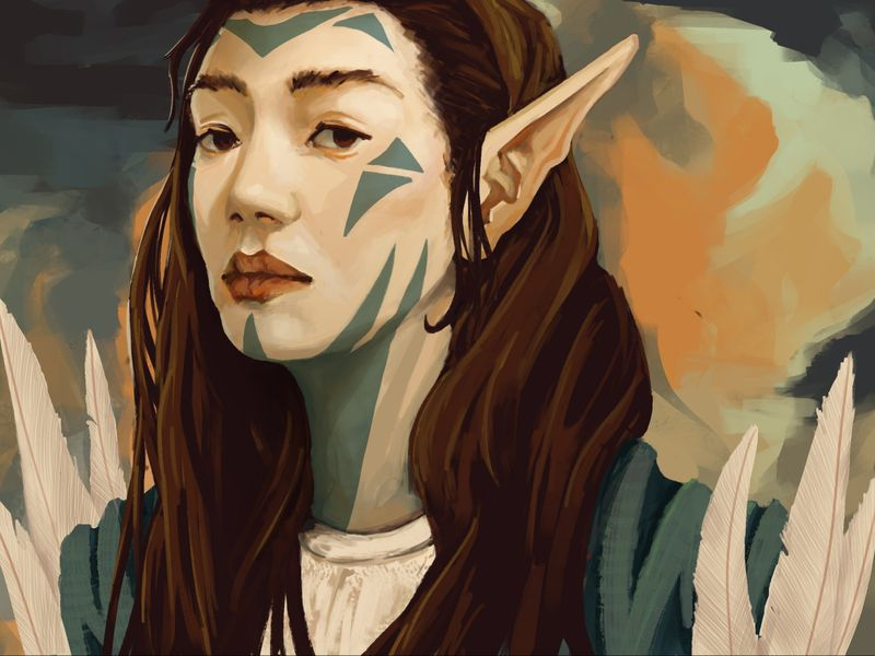 Portrait of Elf with Markings
