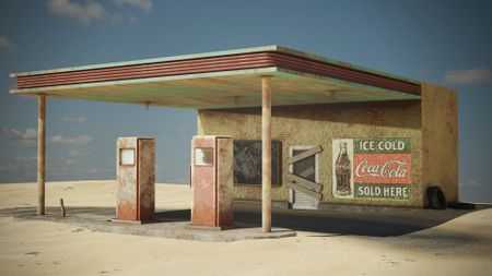 Vintage abandoned gas station