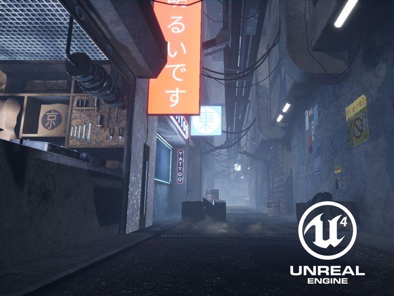 UE4 Sci-Fi Alleyway