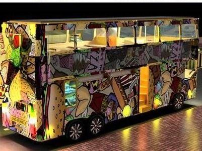 Convertible Double Decker Restaurant Bus- Animation