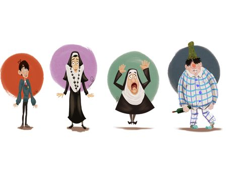 Character Designs: Nuns, giggling children & a drunk guy