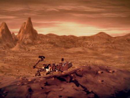 Fictional Mars Landscape + Animation of curiosity Rover