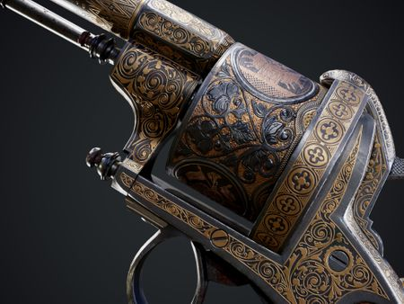 European Damascene Revolver - Game Ready