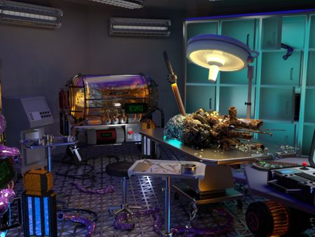 Sci-Fi Laboratory, Kitchen and a Living Room: Environments
