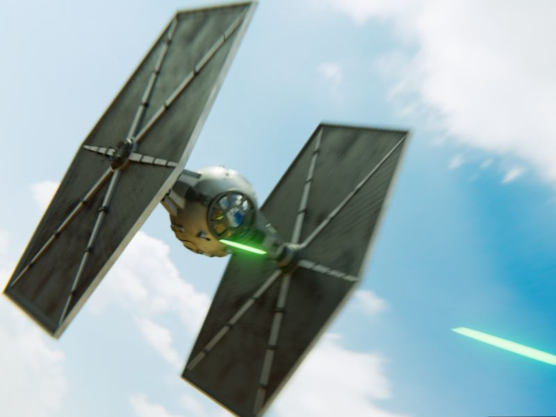 Tie fighter in action