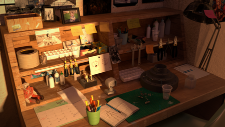 Workplace of a person working at laika studios