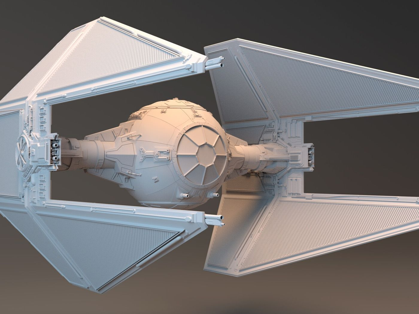 TIE Interceptor (all SubD / with Wireframes)