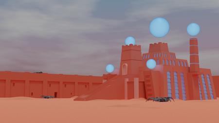 Sci-fi sumerian temple