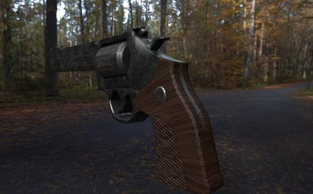 PBR Game Asset - Weathered Revolver with Wooden Grip