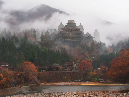 Castle on a foggy mountain: Matte Painting