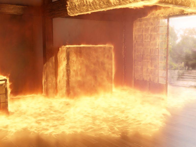 Fire simulation.