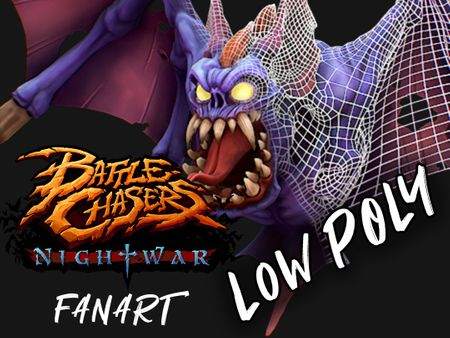 "Battle Chasers - Nightwar ""Bat"" Fan Art Low Poly"
