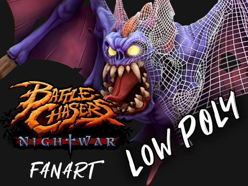 """Battle Chasers - Nightwar """"Bat"""" Fan Art Low Poly"""