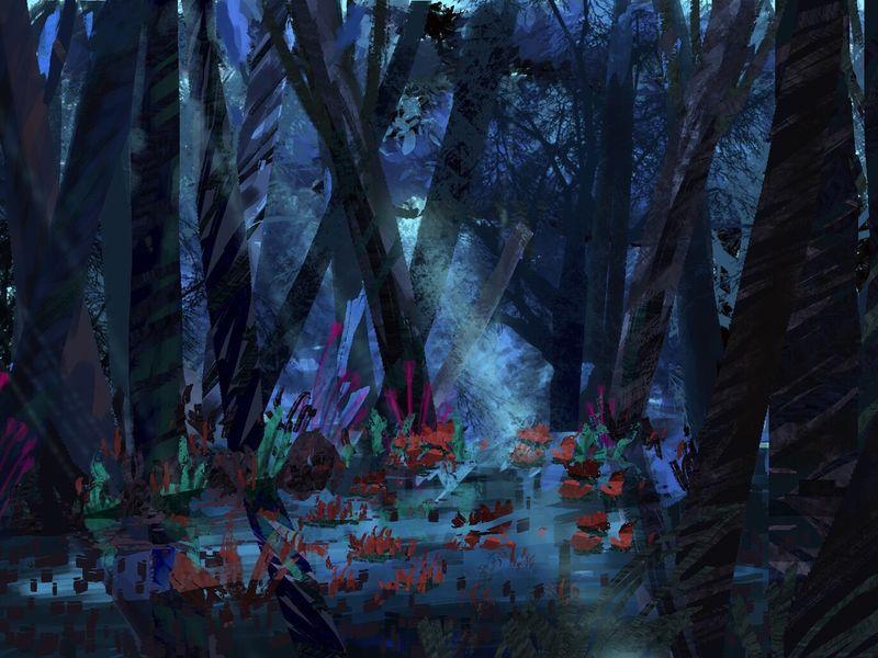 Fantasy dark forest