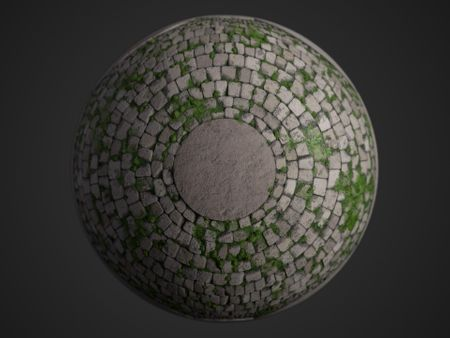 Mossy radial cobblestone PBR material made with Substance Designer + Tutorial