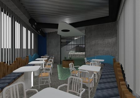 Undulating transition concept interior design for Southern Rock Seafood.
