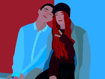 Love couple in illustrator