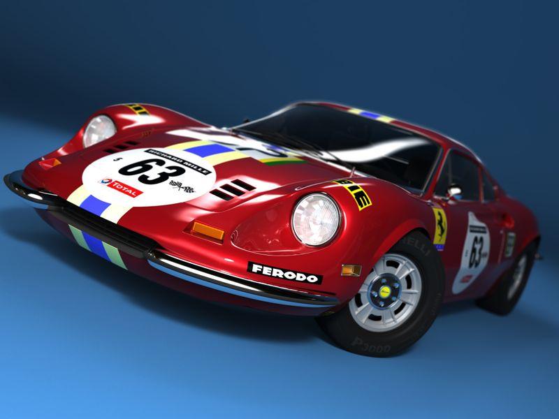 High poly car: Ferrari Dino