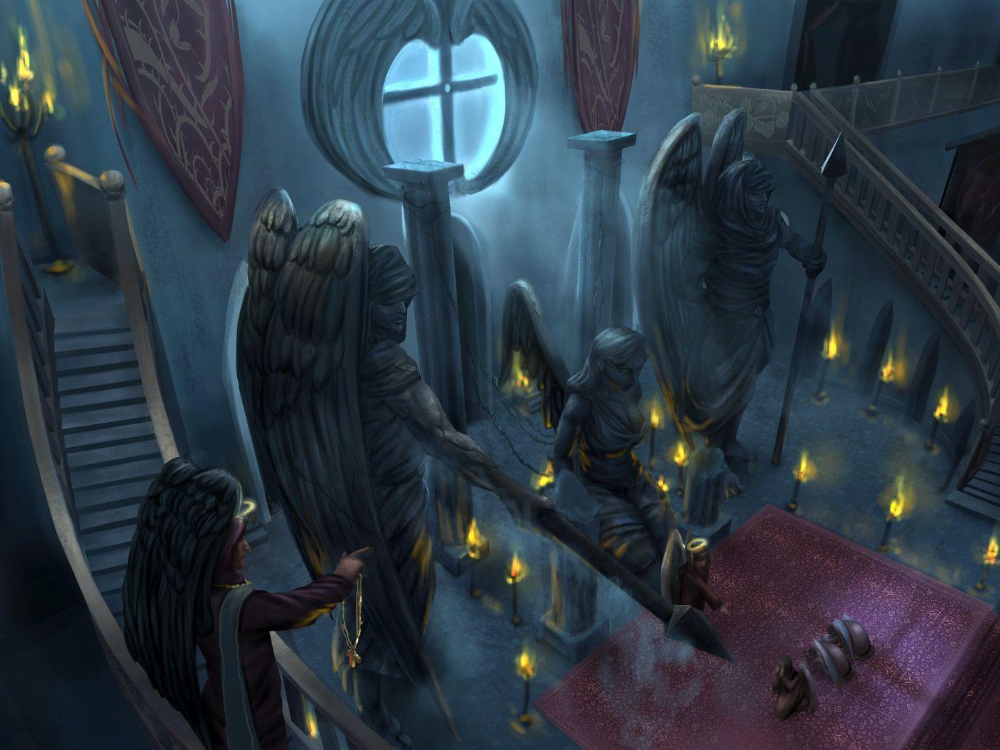 Dark cathedral environment design
