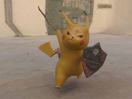Stick fighting Pikachu