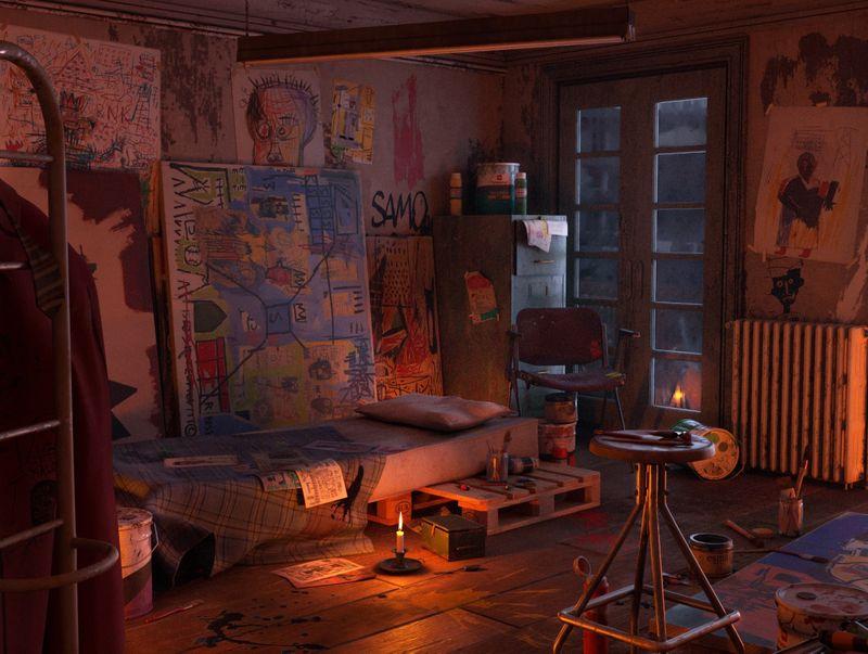 La chambre de BASQUIAT